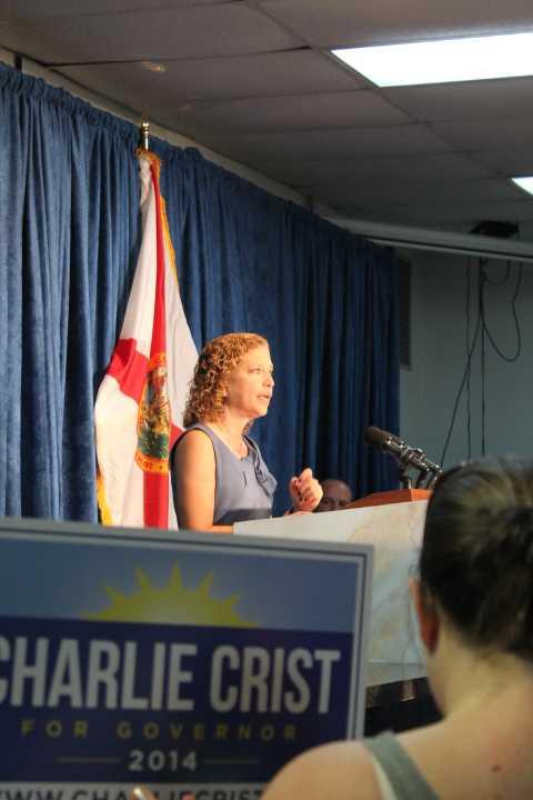 DNC Chair Debbie Wasserman-Schultz stumps at a Democratic unity rally in Orlando, photo by Amy Kiley