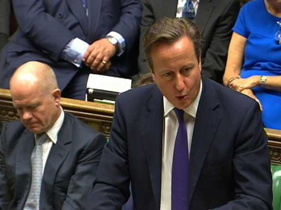 British Prime Minister David Cameron addresses the Houses of Parliament, central London, on Friday. He urged MPs to authorize the U.K.'s participation in anti-ISIS airstrikes.