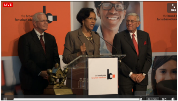 OCPS superintendent Barbara Jenkins receiving the Broad Prize