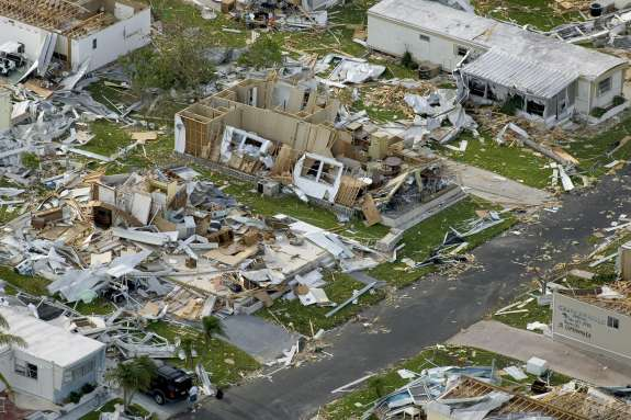 Hurricane Charley was one of eight major storms that devastated parts on Florida in 2004. This photo was taken in Charlotte County. Photo: Wikimedia Commons.