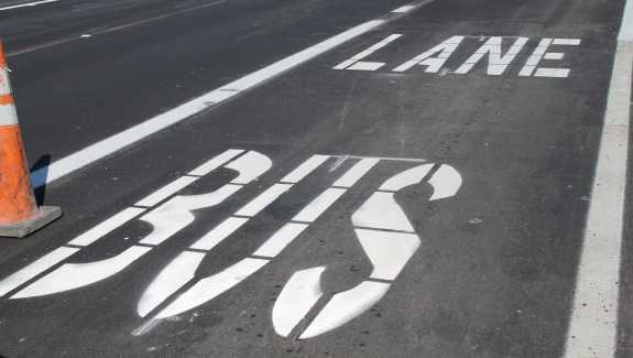 City officials hope the designated bus lanes will reduce vehicular traffic and attract more visitors to the shopping strip. Photo: Renata Sago, WMFE.