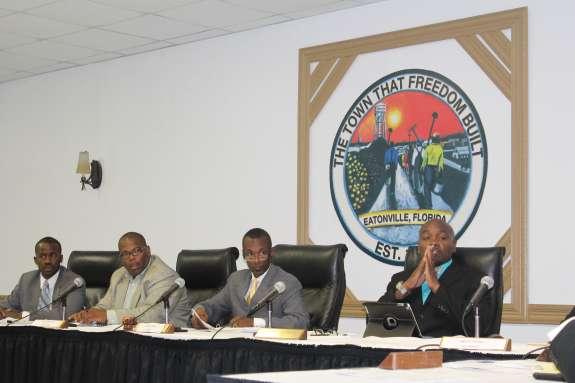 (L to R: Councilman Theo Washington; Councilman Eddie Cole; Mayor Anthony Grant; Councilman Rodney Daniels.) Photo: Renata Sago.