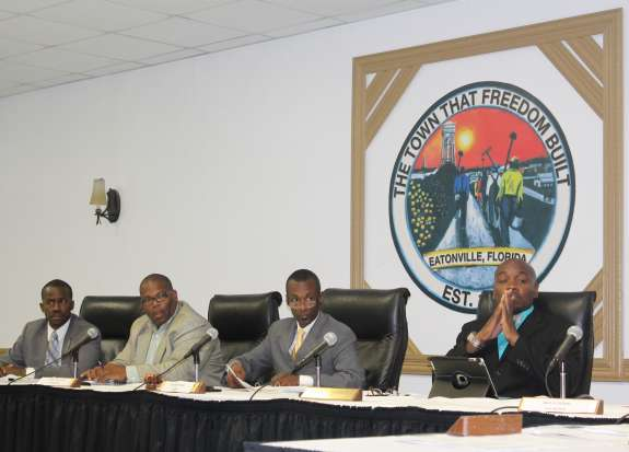 (L to R: Councilman Theo Washington; Councilman Eddie Cole; Mayor Anthony Grant; Councilman Rodney Daniels at the Eatonville Town Council Meeting on Tuesday night.) Photo: Renata Sago.