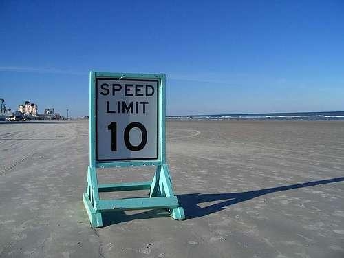 Posted speed limit on Daytona Beach. Photo by Michael Kooiman