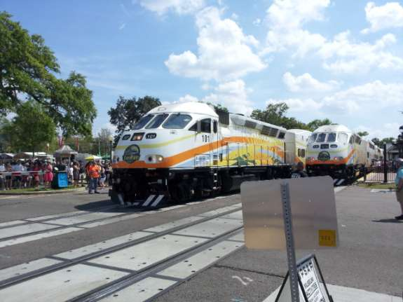 SunRail trains at Winter Park station. Photo: Matthew Peddie, WMFE