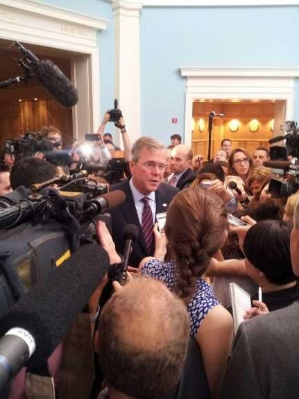 Jeb Bush talks to the media at Governor Rick Scott's Economic Growth Summit. Photo: Matthew Peddie, WMFE
