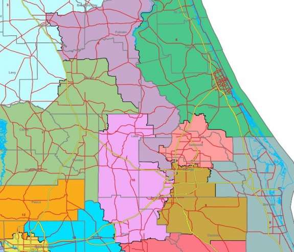 Congressional maps in Central Florida will have to be redrawn. Image: FloridaRedistricting.org