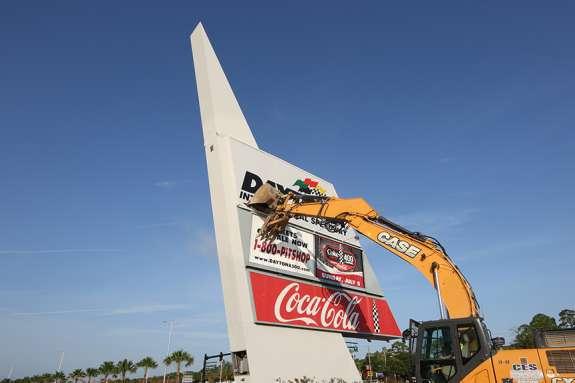 Daytona International Speedway's sign was demolished as part of the Daytona Rising re-design project. Photo: Daytona International Speedway