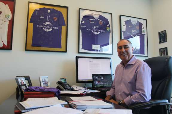 """""""We want to be the very best neighbor to Parramore we can be,"""" says Orlando City Soccer Club president Phil Rawlins. Photo: Matthew Peddie, WMFE"""