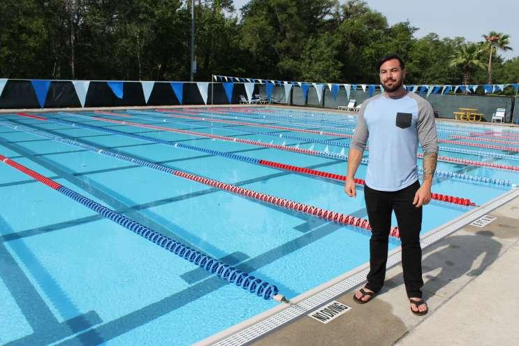 Michael Roggio at the Oviedo Aquatic Center where he's been training for the Invictus Games. Photo: Matthew Peddie, WMFE