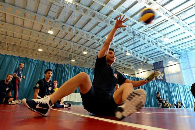The US Seated volleyball team practice for the 2014 Invictus games. Photo: Joshua D. Sheppard / US Navy.