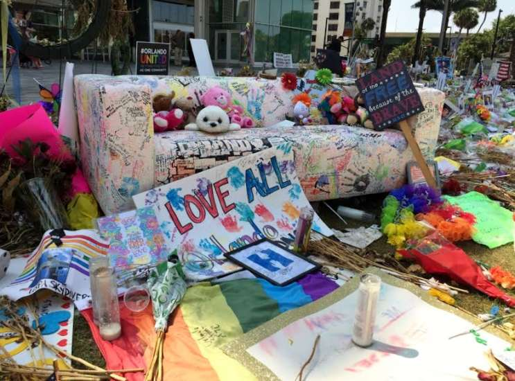 Staff with the Orange County Regional History Center expect to collect thousands of items as part of memorials across downtown Orlando. Photo: Renata Sago.