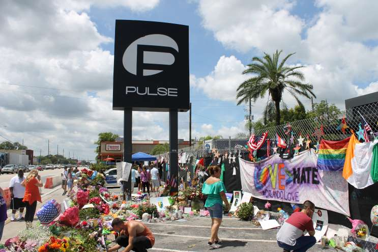 The sign outside Pulse nightclub, three weeks on from the shooting. Photo: Matthew Peddie, WMFE