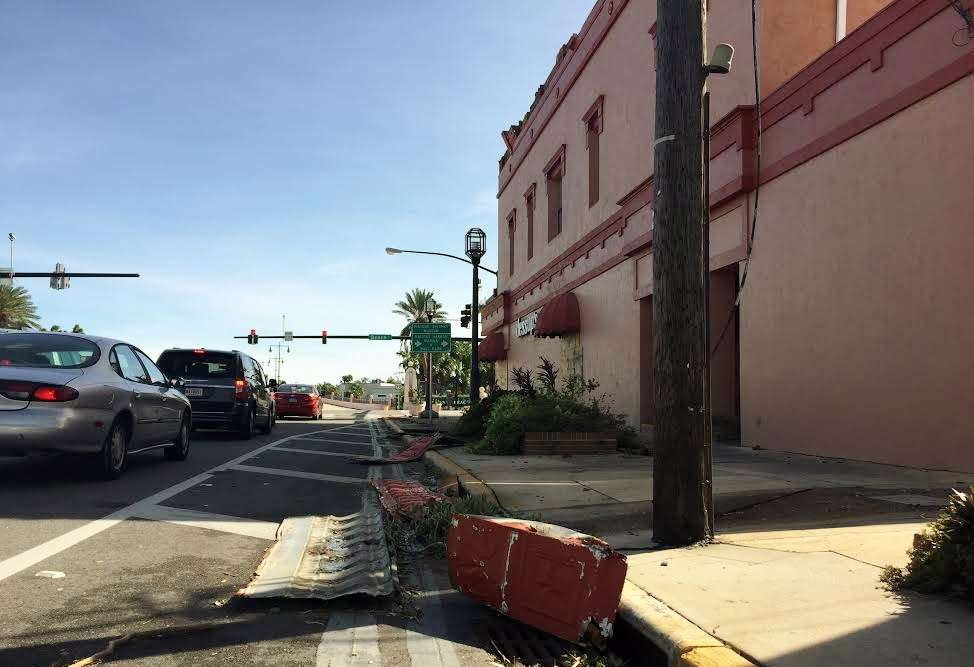 The hurricane ripped part of the facade of this building in historic downtown Daytona Beach. Photo: Renata Sago.