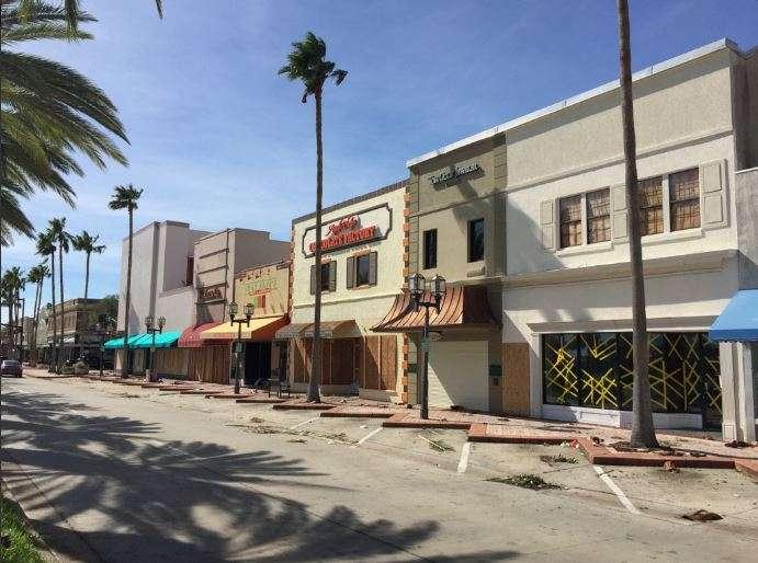 Part of Beach Street in historic downtown Daytona Beach after Hurricane Matthew hit. Photo: Renata Sago.