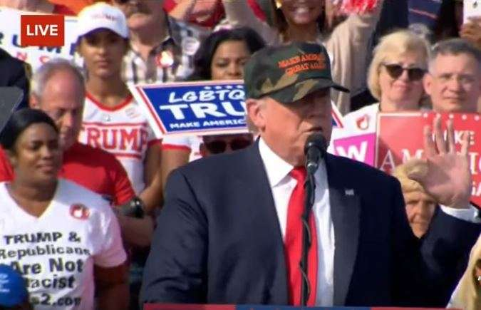 Donald Trump rallies on-the-fence voters in Sanford two weeks before Election Day. Photo: Screenshot.