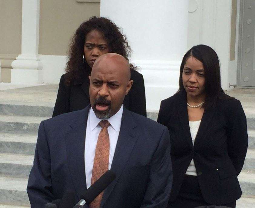 Roy Austin, attorney for ninth judicial state prosecutor Aramis Ayala speaks to reporters after oral arguments at the Florida Supreme Court. Photo: Renata Sago.
