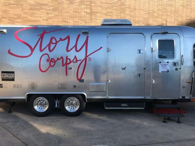 The StoryCorps Airstream is parked and open for business at the Orlando Museum of Art. Photo: Danielle Prieur