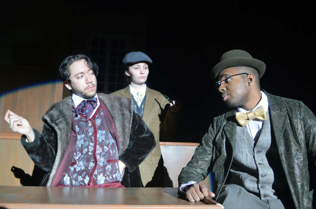 """Gabriel Garcia, Kaitlyn Read, and Adam Byrd (left to right) perform a scene in """"Gross Indecency: The Three Trials of Oscar Wilde."""" Photo courtesy of Richard Harmon"""