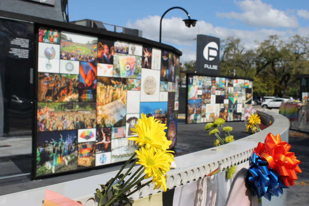The temporary memorial at the site of the Pulse nightclub shooting. Photo: Matthew Peddie, WMFE