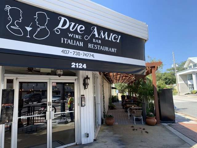Photo of Due Amici exterior courtesy of Scott Joseph's Orlando Restaurant Guide