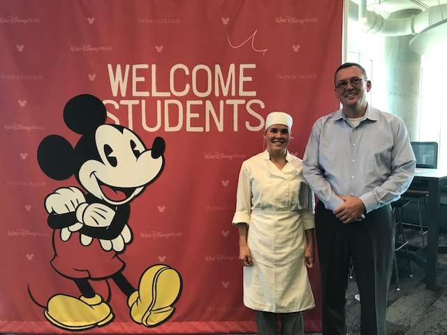 Culinary student Jacqueline Doucette and Dean Alex Erdmann at the joint downtown UCF and Valencia College campuses. Photo: Danielle Prieur