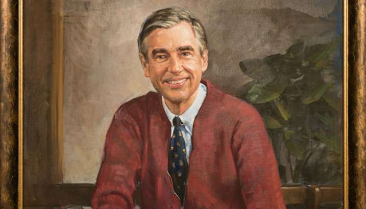 Fred Rogers' portrait, painted by local artist Don Sondag, hangs in Tiedtke Concert Hall. Photo courtesy of Rollins College website
