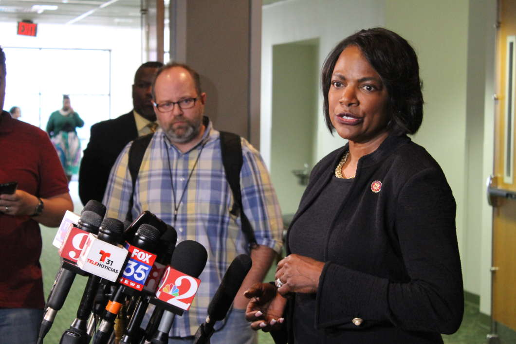 US. Rep. Val Demings speaks to reporters at the First Baptist Church in Orlando about her role in the upcoming impeachment trial. Photo: Matthew Peddie, WMFE