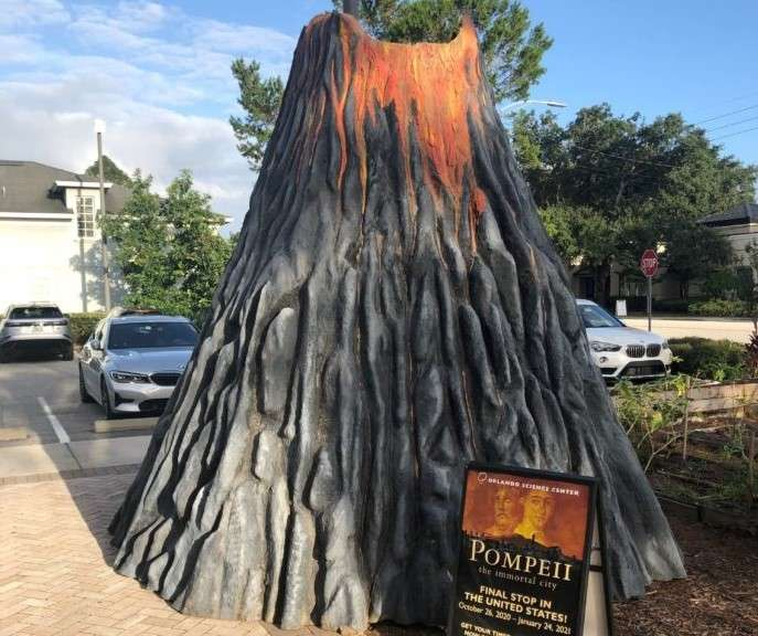 """Image of volcano at the East End Market courtesy of Orlando Science Center. The volcano """"erupts"""" every ten minutes through October 4th."""
