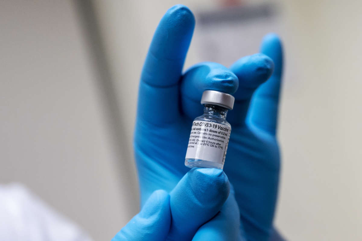 A vial of the Pfizer-BioNTech COVID-19 vaccine. Photo: Lisa Ferdinando, DOD