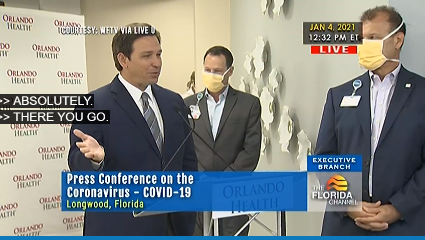 Gov. Ron DeSantis at South Seminole Hospital Monday.