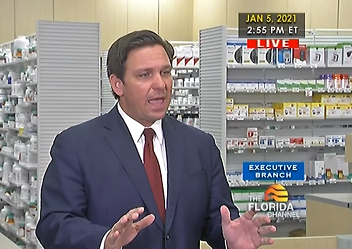 Gov. Ron DeSantis announced a pilot program Tuesday to provide the coronavirus to seniors at Publix pharmacies in Marion, Citrus and Hernando counties. Image: Florida Channel video