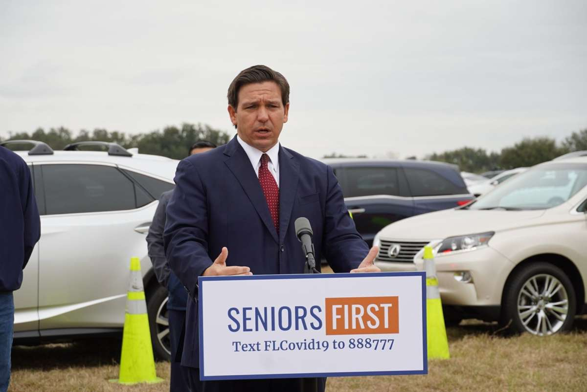 Gov. Ron DeSantis spoke at a new mass vaccination site in The Villages Tuesday morning. Photo: DeSantis via Facebook