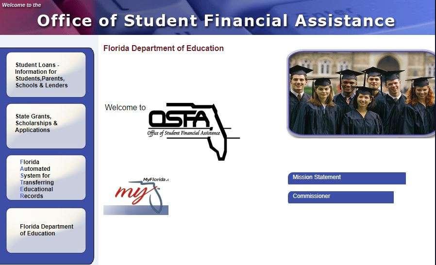 Image:  Screen shot from Florida Student Financial Aid website, floridastudentfinancialaid.org