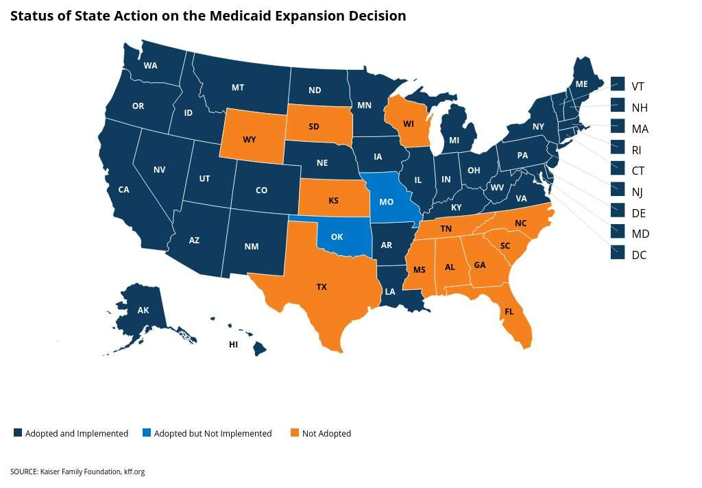 Florida is one of 14 states that have not expanded Medicaid (Source: Kaiser Family Foundation).