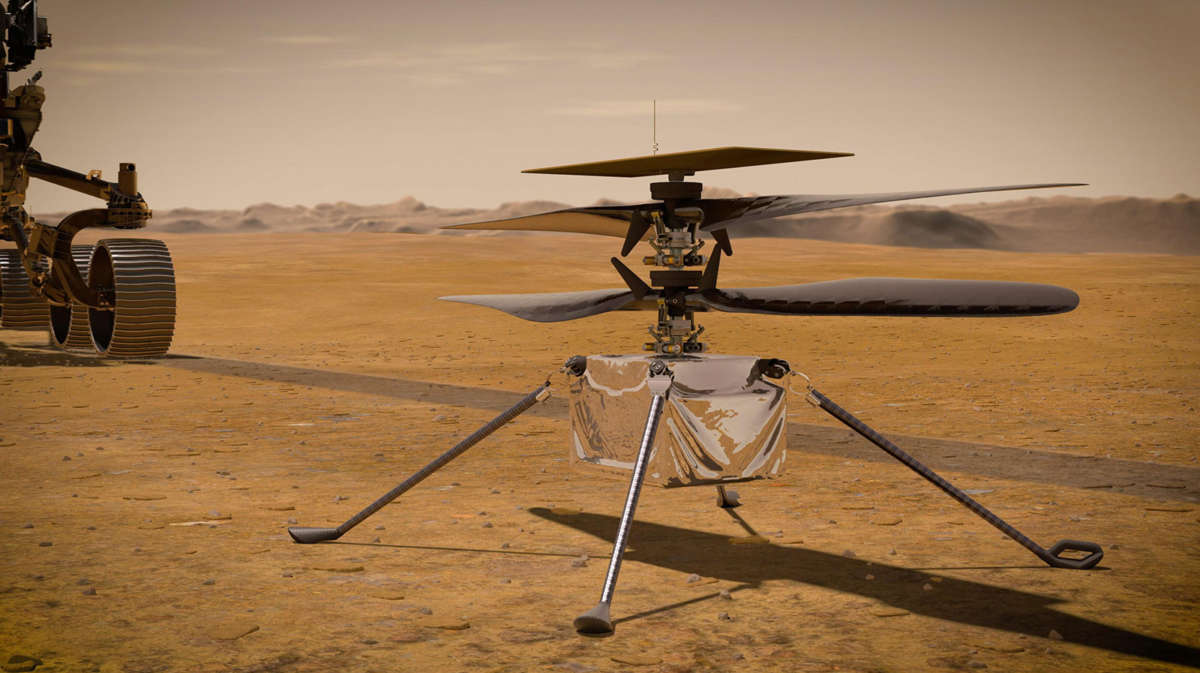 In this illustration, NASA's Ingenuity Mars helicopter stands on the Red Planet's surface as NASA's Perseverance rover (partially visible on the left) rolls away. Photo: NASA