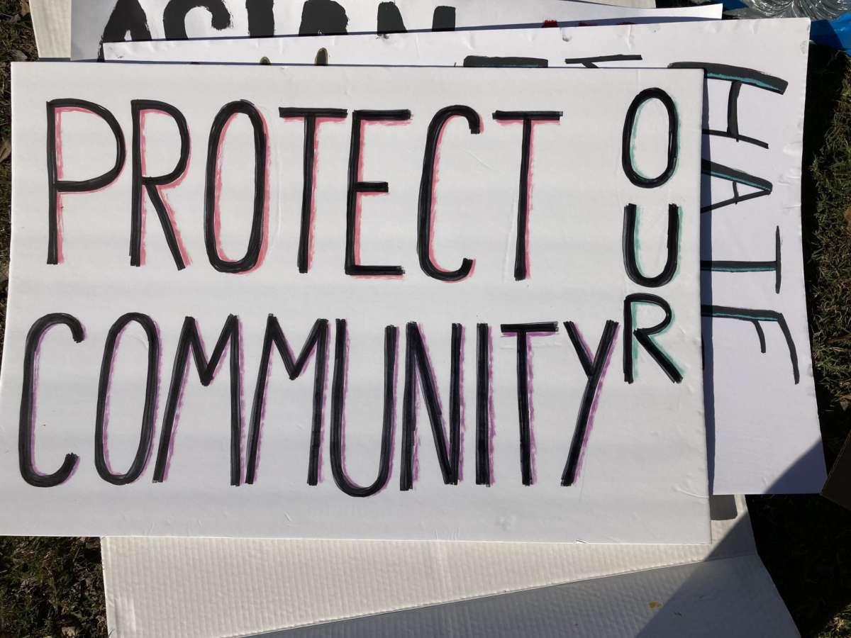 A sign at the UCF vigil honoring the Atlanta mass shooting victims. / Photo by:  Danielle Prieur.