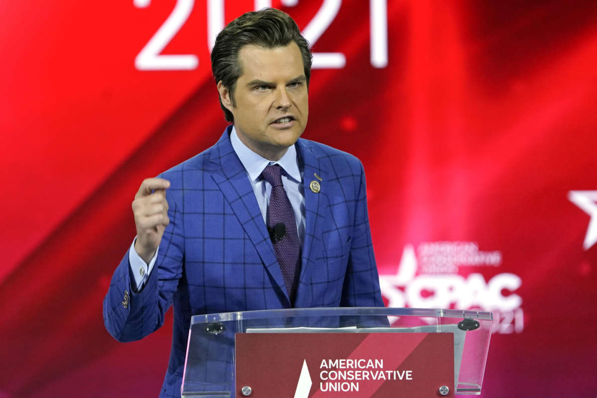 FILE – In this Feb. 26, 2021, file photo Rep. Matt Gaetz, R-Fla.,, speaks at the Conservative Political Action Conference (CPAC) in Orlando, Fla. (AP Photo/John Raoux, File)