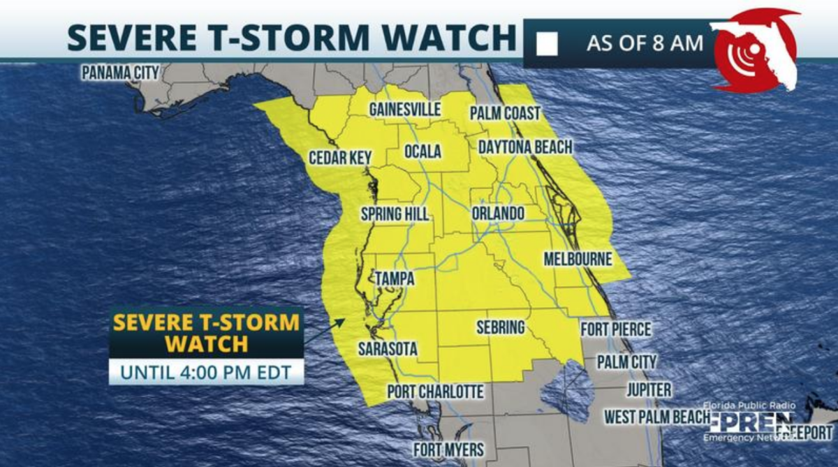 Severe Thunderstorm Watch Issued for Parts of the Florida Peninsula