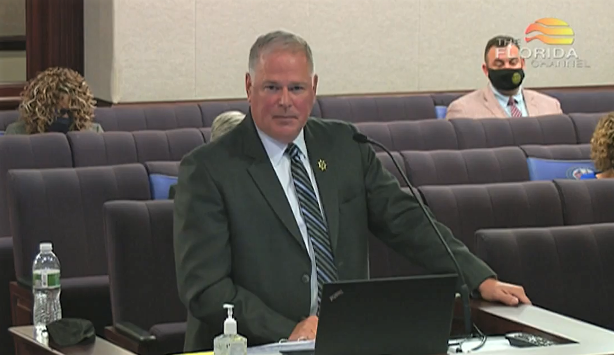 FDOC Secretary Mark Inch, shown at a Florida Senate hearing earlier this year, is urging prison inmates to consider getting vaccinated. Image: The Florida Channel