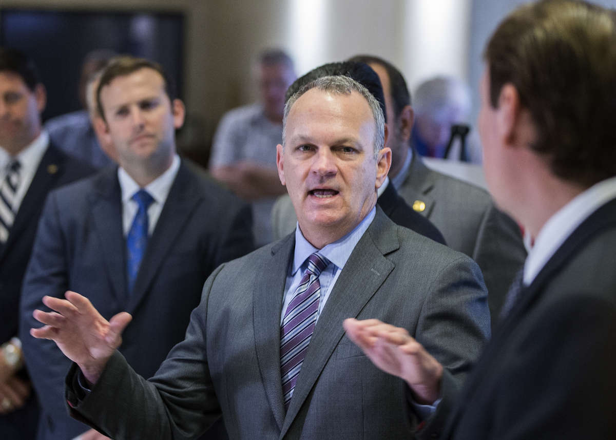 FILE – In this Feb. 23, 2018, file photo, Florida Speaker of the House Richard Corcoran speaks at a press conference on school safety at the Capitol in Tallahassee, Fla.  (AP Photo/Mark Wallheiser, File)