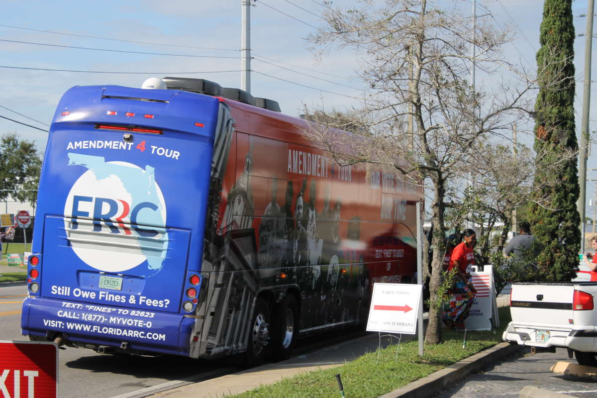 The Florida Rights Restoration Coalition bus on a stop at the Orange County Supervisor of Elections office in Orlando , November 2019. Photo: Matthew Peddie, WMFE / file