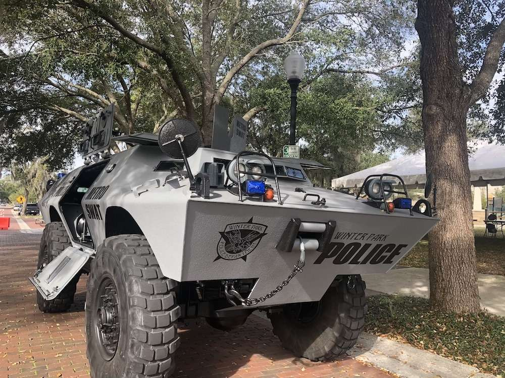 Image: Winter Park Police Department's APC, parked in Hannibal Square during the MLK Unity Fest in January 2020, by Jessica Bryce Young