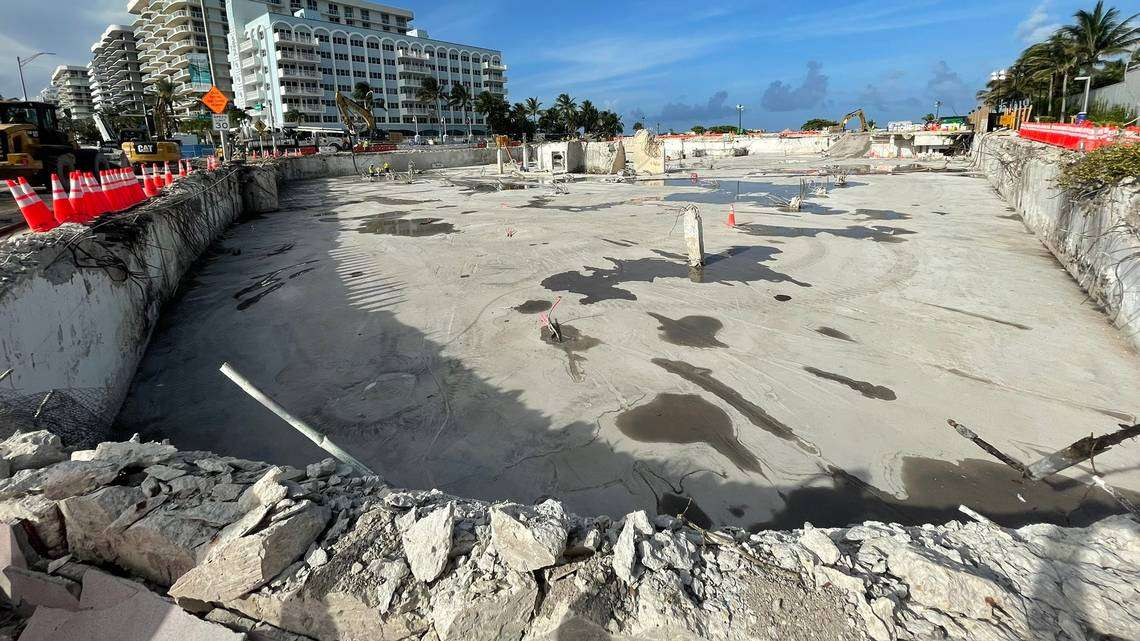 A photo posted July 20 on Twitter by Florida Sen. Jason Pizzo, D-North Miami Beach, shows the Champlain Towers South site cleared of all rubble from the tower's collapse. The emptied-out foundation, free of prior supports, has a Surfside engineer worried about a cave-in that could cause Collins Avenue to collapse, too. COURTESY JASON PIZZO