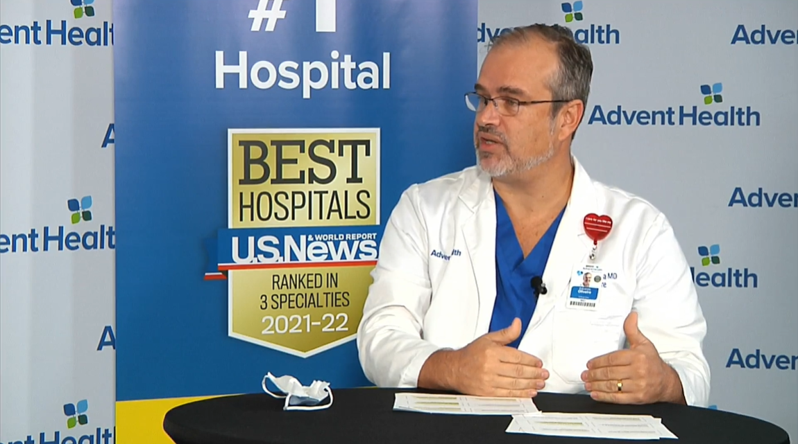 Dr. Eduardo Oliveira works in the intensive care unit at AdventHealth.