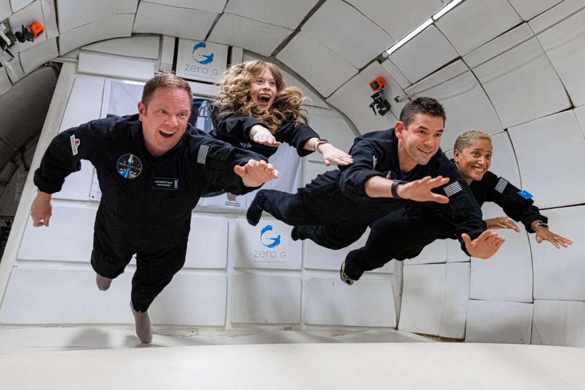 The crew of Inspiration4 trains for their upcoming mission on a parabolic flight simulating weightlessness. Photo: Inspiration4 / John Kraus.
