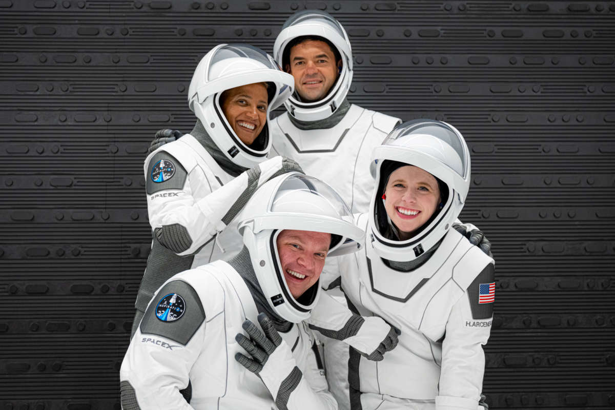 The Inspiration4 crew suits up for a dress rehearsal of the launch from Kennedy Space Center. Photo: Inspiration4 / John Kraus