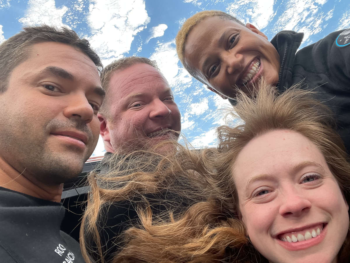 The Inspiration4 crew takes a selfie from SpaceX's Crew Dragon capsule. Photo: Inspiration4