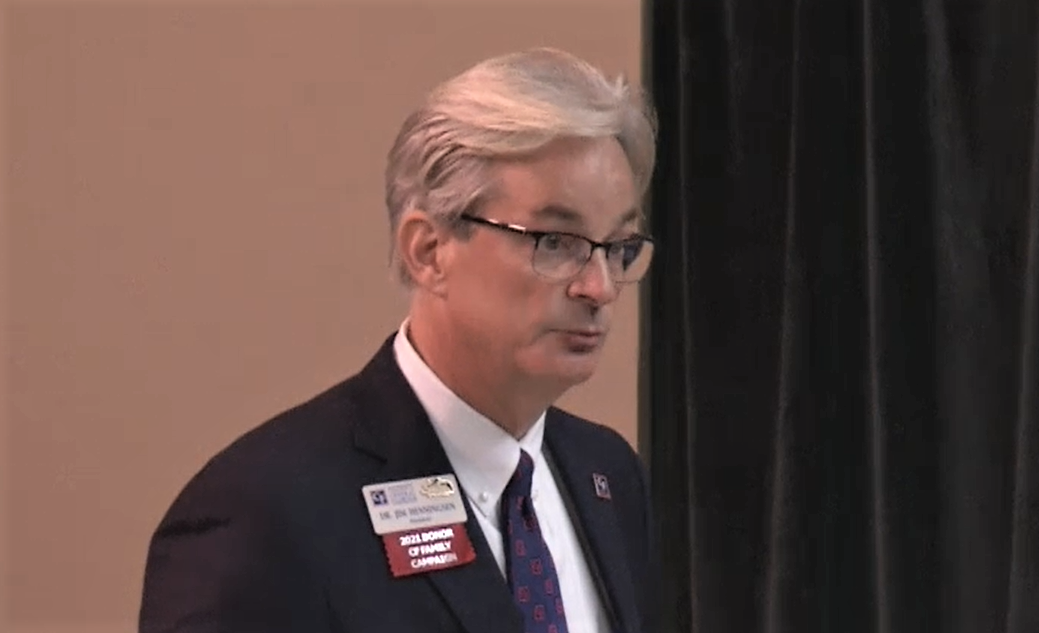 CF President Jim Henningsen speaks to the Marion County Commission at a recent meeting. The county has committed $2 million as a local match for the new nursing education building. Image: Marion County via video